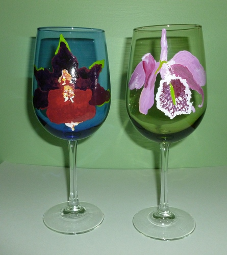 2 Orchid large colored Wine golbets $90