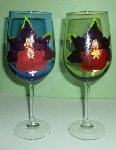 2 Blood Orchids large colored Wine Golbets $90