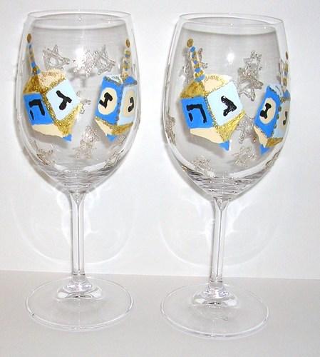 4 Blue Dreidel Chanuka goblets $135