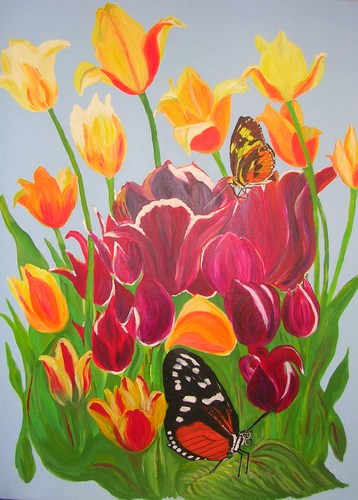 Butterflies amongst the Tulips - Sylvia Richman