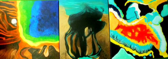 'From Mars to Dubai' triptych, acrylic on canvas, 56 'From Mars to Dubai' tiptych, acrylic on canvas