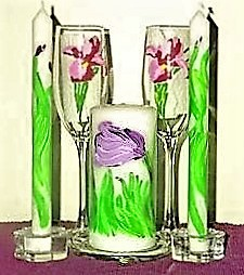 Handpainted glasses and candles: Jen/Jason's Las Vegas wedding appointments