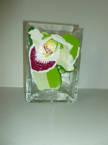 White Cymbidium Orchid small Vase $95