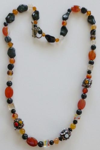Jets, carnelian, lampwork beads healing necklace