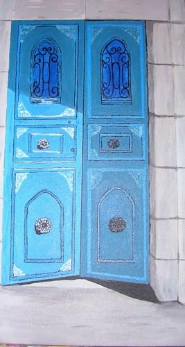 """Jerusalem Blue Doors, acrylic on canvas, 24""""x12"""" $750"""