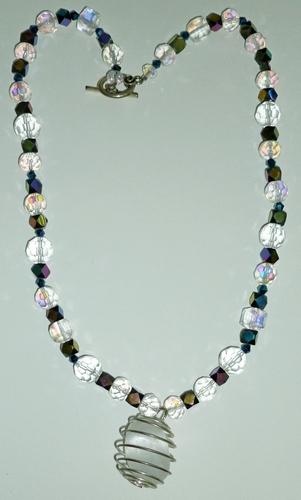 crystal quartz pendant & beads