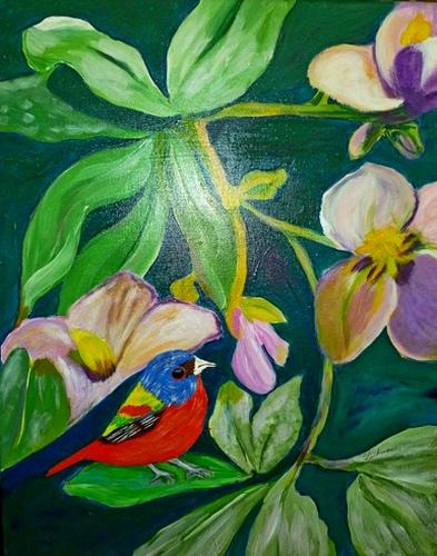 "Bird on a Leaf, acrylic, 20""x16"" $600"