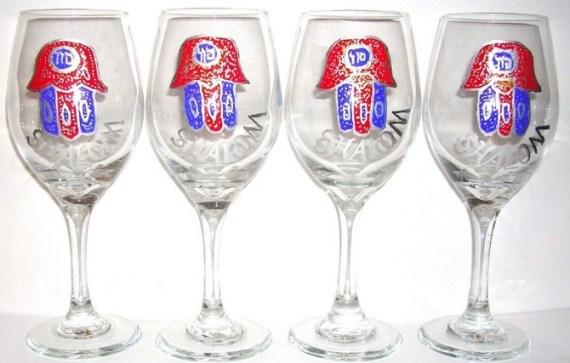 4 Chamsa wine goblets with Shalom $135