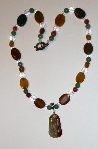 Jade pendant, jade, crystal quartz, carnelian healing necklace
