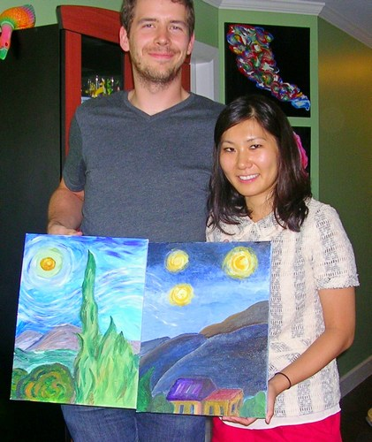 Lisa & partner with Van Gogh paintings at her birthday  workshop
