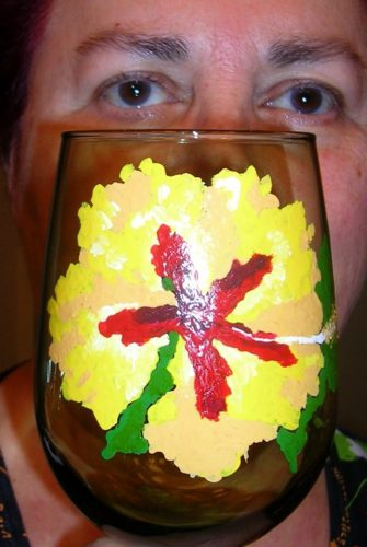 Sylvia Goodman Richman with Sylvia Goodman Hibiscus large colored wine goblet $45