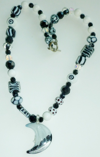 healing necklace: black & white with Moon pendant