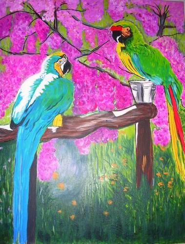 "Lovebirds, acrylic, 16""x20"" $600"