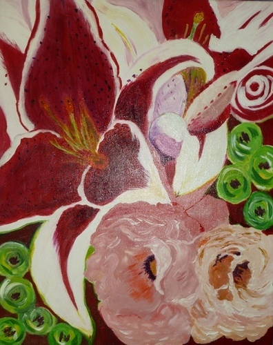 """Lilies of the Field, acrylic, 20""""x16"""" $600"""