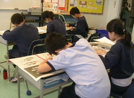 Cartooning at private school in Vancouver