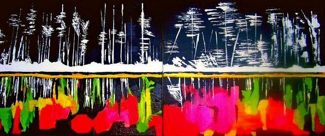'Winter/Summer' diptych, acrylic on canvas