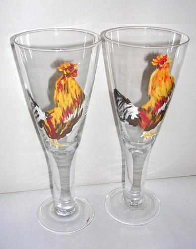 4 large Rooster goblets $160