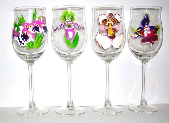 4 assorted Orchid tulip wine gobles $135