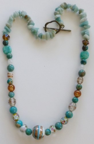 gold & white, turquoise chrysoprase healing necklace