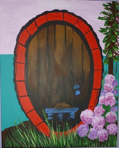 "Wine Cellar Door, acrylic, 20""x16"" $600"