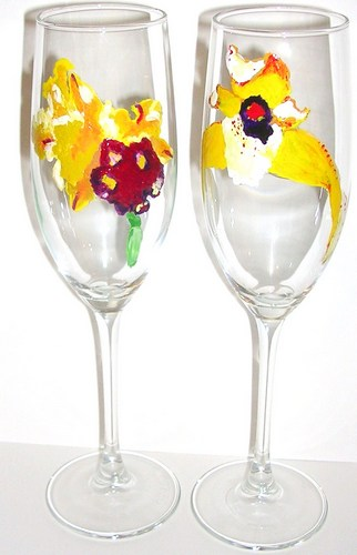 2 Yellow Orchid flutes $90