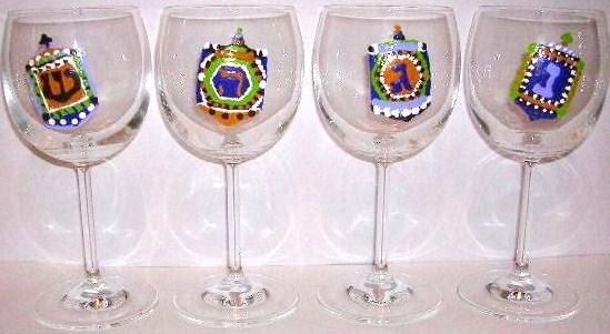 4 Chanukah dreidel goblets $135