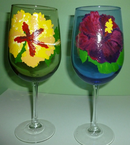 2 Hibiscus Large Colored Wines goblets $90