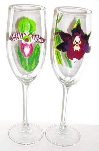 1 lady slipper &1 blood orchid flute $90