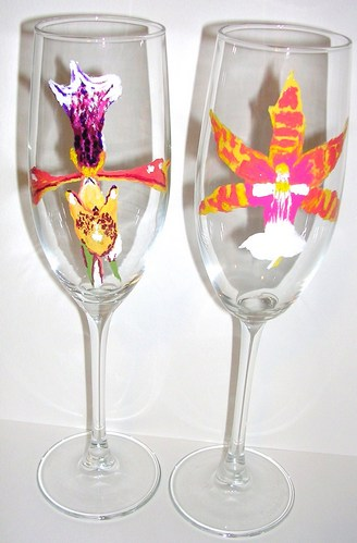 2 orange Orchid flutes $90