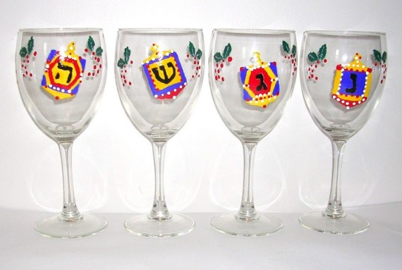Xmaka (Xmas & Chanuka) wine goblets set of 4 - $135