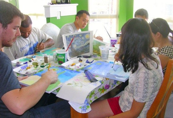 group painting Van Gogh style at birthday party workshop in Vancouver