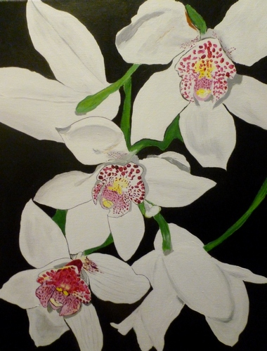 "Three White Cymbidium, acrylic, 20""x16"" $600"