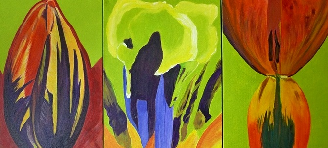 "My Life in Tuliptime, acrylic on canvas, 16""x36"" $1300."