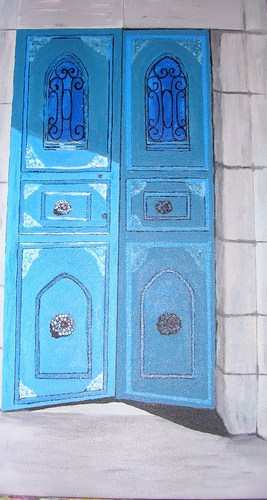 "Jerusalem Blue Doors, acrylic on canvas, 24""x12"" $750"