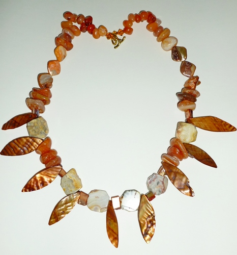 "copper shell & jasper 25"" $99"