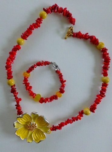 "coral necklace & bracelet set, enamal pendant, 24"", $99"