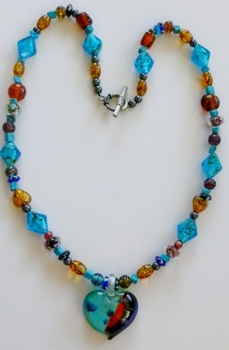 hematite, aqua & honey beads, with pendant healing necklace