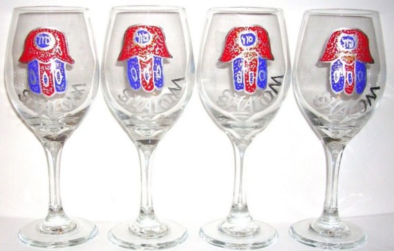 4 Chamsa wine goblets with Shalom $135