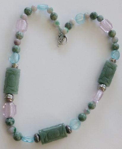 "healing necklace: large green Jade carved nuggets, candy jade beads & silver & pink&blue foil glass beads 24"" $99"