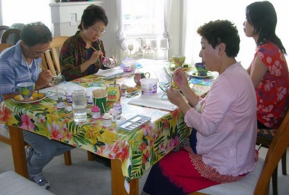 Vancouver ESL students doing glass painting workshop