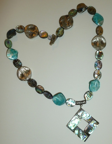 abalone pendant, abalone & shells healing necklace