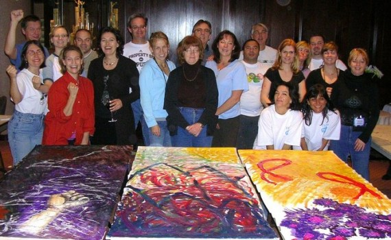 Team building at its best: 3 completed panels, one large group of painters