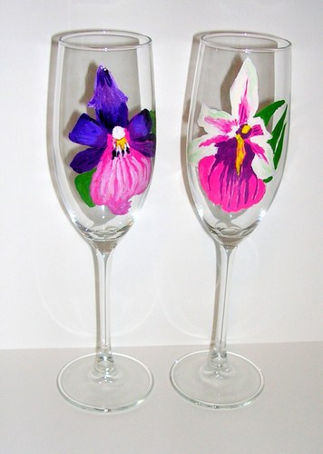 2 purple orchid flutes $90 2 Purple Orchid flutes $90
