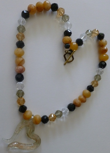 yellow Jade, Jets, clear & smokey quartz, heart pendant healing necklace