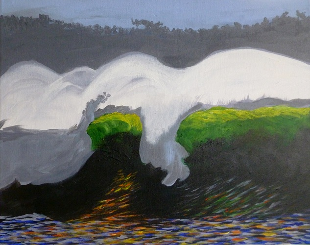 "The Wave, acrylic on canvas, 16""x20"" $600"
