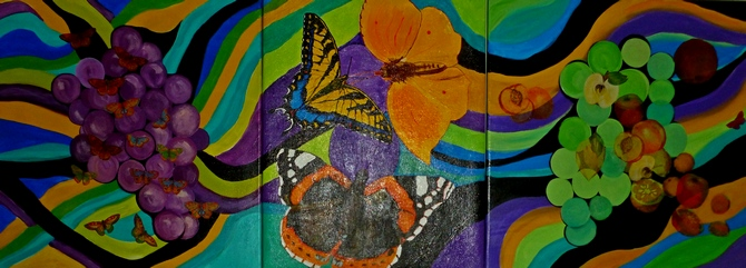 Grapes & Butterflies triptych, acrylic on canvas